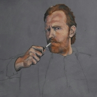 Portret Reinier, olieverf & potlood op paneel