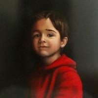 Portret jongen, olieverf op paneel, 45 x 40 cm, 2018