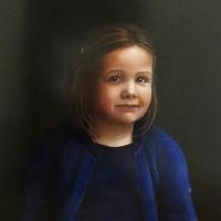 Portret meisje, olieverf op paneel, 45 x 40 cm, 2018