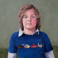 Portret jongen, olieverf op paneel, 50 x 45 cm, 2017