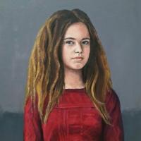 Portret meisje, olieverf op paneel, 50 x 45 cm, 2017